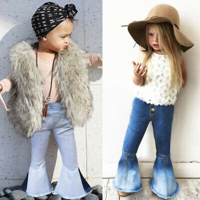 AU Fashion Infant Kid Baby Girl Bell-Bottoms Pants Denim Wide Leg Jeans Trousers