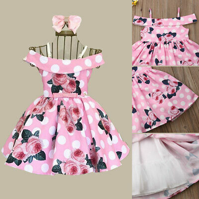 AU Casual Outfit Toddler Baby Girl Off-Shoulder Flowers Princess Skirt Dress Set