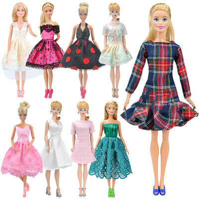 9Pcs Dresses for Barbie Doll Fashion Party Girl Dresses Clothes Gown Toys Gift