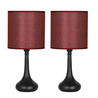 SET OF 2 Bedside Table Lamps Wine Red Line Fabric Lampshade ...