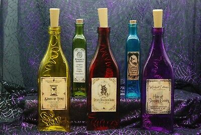 Halloween Apothecary Potion Bottles w/ Crystal Spider prop Spooktacular Decor