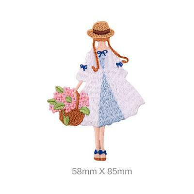 Cute Flower Girl Embroidery Patch for Clothes Bag Phone Book Patches Decor JJ