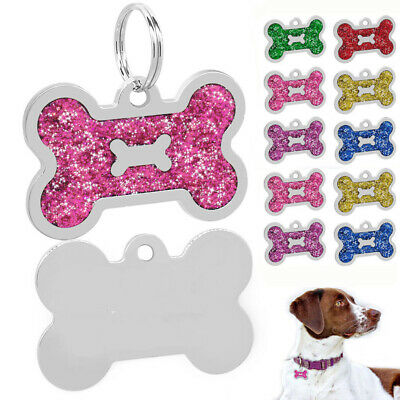 Custom Personalized Dog ID Tags Bone Shape Puppy Free Engraving Glitter Name Tag