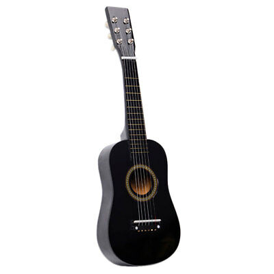 "New 23"" Plywood 15 Frets Acoustic Guitar Black w/ 6 String For Children Kids"