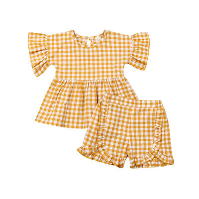 2019 Toddler Kid Baby Girl Clothes Plaid T-Shirt Tops+ Shorts Summer Outfits Set