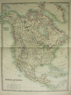 1896 Large Victorian Map ~ North America Canada Alaska Mexico United States Cuba