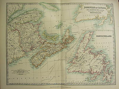 1896 Groß Viktorianisch Map ~ Dominion Of Canada Eastern Brunswick Newfoudland