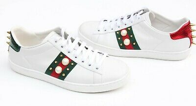 f137526d7 NEW GUCCI WHITE Leather Ace Pearl Studded Web Detail Sneakers Shoes ...