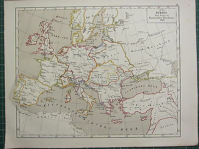1875 Antique Historical Map ~ Europe Start Of French Revolution 1789
