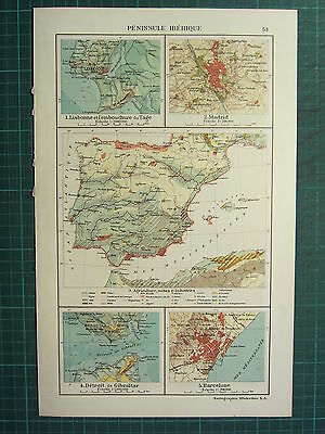 1921 Map ~ Iberian Peninsula Spain & Portugal Gibraltar Barcelona Madrid Plan