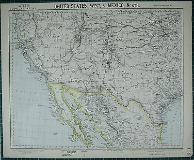 1883 Letts Map ~ United States Western Arizona Kalifornien ~ North Mexico
