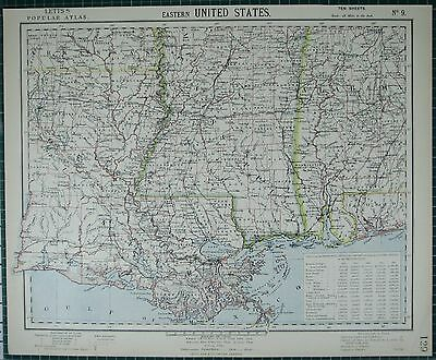 1883 Letts Map ~ Eastern United States Mississippi Arkansas Alabama Louisiana