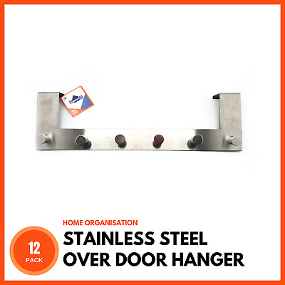12 x STAINLESS STEEL OVER DOOR HANGER 6 HOOK Coat Towel Bag Clothes Hat Storage