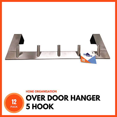 12 x STAINLESS STEEL OVER DOOR HANGER 5 HOOK Coat Towel Bag Clothes Hat Storage