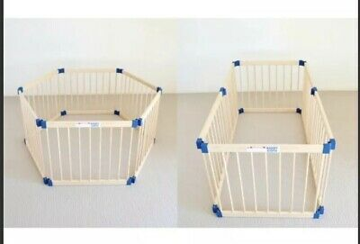 3 in 1 KIDDY COTS BABY PLAYPEN WOODEN TIMBER NATURAL CHILD PET SAFETY YARD