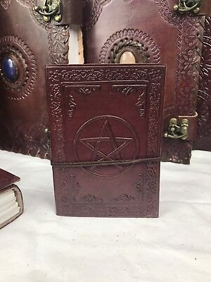 Hand Made Leather Bound Book/Journal Natural Recycled Paper Pentagram -12.5X9 cm