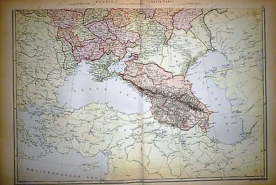 1882 Large Victorian Map ~ Russia South Part
