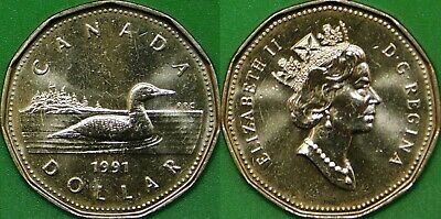 1991 Canada Loonie Graded as Brilliant Uncirculated From Original Roll