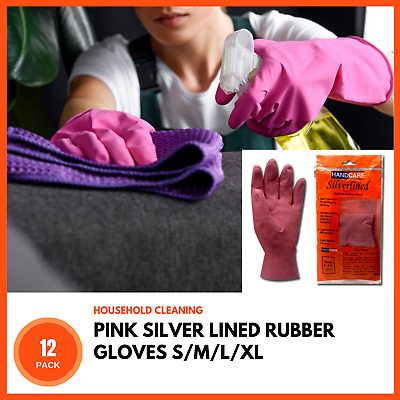 12 x REUSABLE WATERPROOF RUBBER GLOVES SILVER LINED S/M/L/XL Household Cleaning