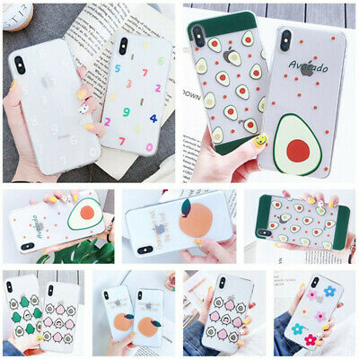 Cute Fruit Cartoon Silicone Pattern Case Cover For iPhone XS Max XR 8 7 6s Plus