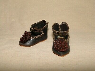 BEBE Leather shoes, Jumeau style for antique doll SIZE 1
