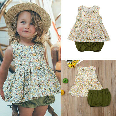 AU 2PCS Toddler Baby Girls Outfits Clothes T-shirt Tops Dress+Short Pants Sets