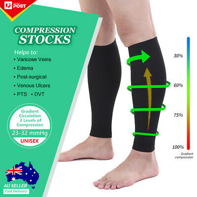 Medical Calf Compression Sleeve Socks Anti Fatigue Flight Travel Unisex Stocking