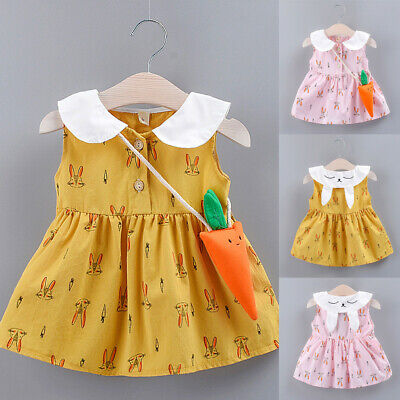 Toddler Kids Baby Girls Cute Bunny Print Party Princess Dresses+Carrot Bags Sets