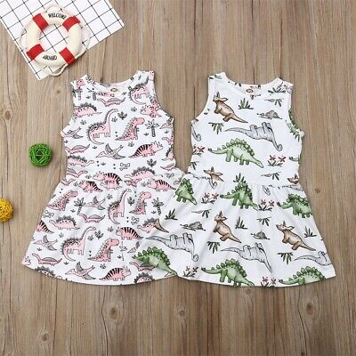 AU Toddler Kids Baby Girl Cute Dinosaur Printed Casual Princess Party Dresses