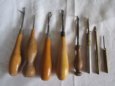 Vintage Lot of RUG MAKING TOOLS 6 x Different Wooden Handle Latch Hooks punch