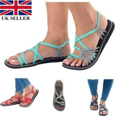 Gladiator Casual Sandals Womens Summer Flat Fringe Shoes Roma Style Goth Size BR