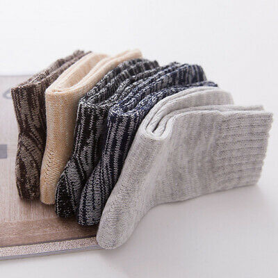 5 Pairs Men Wool Cashmere Thick Warm Soft Plain Casual Sports Socks Winter New