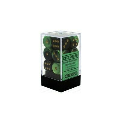 Set d6 16mm Gemini Black-Green w/gold - Chessex CHX 26639