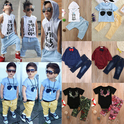 AU 2pc Baby Clothes Kids Boys Cotton Summer T-shirt Top+Short Haren Pants Multi