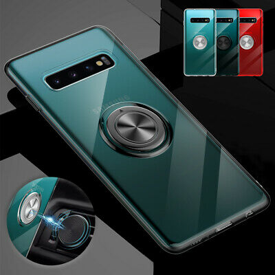 For Samsung S10 5G Note 8 S9 Plus Case Magnetic Rubber Ring Holder Stand Cover