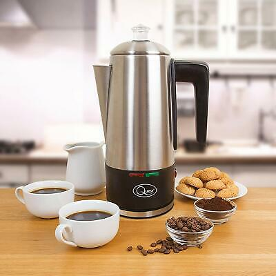 Stainless Steel Cordless Electric Coffee Percolator with Integrated Filter,1.5L