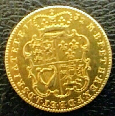 Ext Rare George Ii 1732 E.i.c 22 Ct Gold Plated One Guinea Coin In  Ef