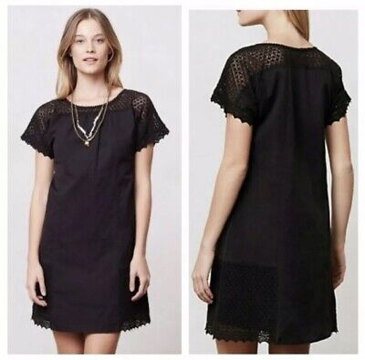 Anthropologie Girls From Savoy Size 2 Black Linen Crochet Lace Shift Dress