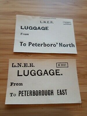 London & North Eastern Railway / LNER Luggage Label - Peterborough North / East