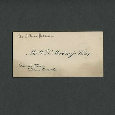 1920s-30s Calling Card CANADIAN PRIME MINISTER MACKENZIE KING, Laurier House