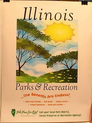 """1988 Illinois Parks & Recreation 18 x 24"""" Poster Forest Preserve"""