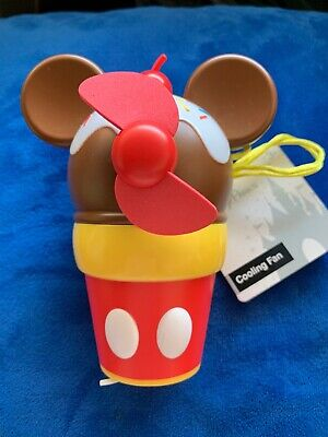 Disney Parks Mickey Mouse Ice Cream Cone Cooling Fan Mister Lanyard NEW