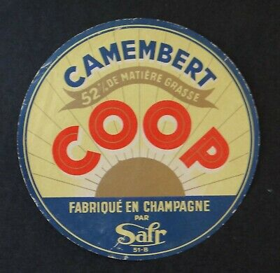 Etiquette fromage CAMEMBERT COOP 52% French cheese label 12