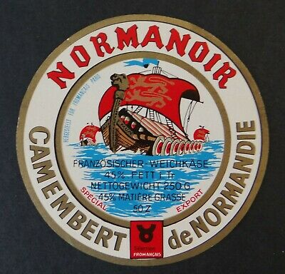 Etiquette fromage CAMEMBERT NORMANOIR Normandie French cheese label 3