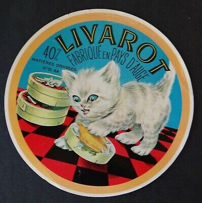 Etiquette fromage LIVAROT Pays d'Auge 40% Chat Cat Katze French cheese label 12