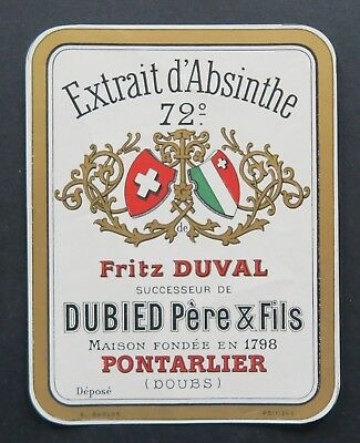 Ancienne étiquette Absinthe Fritz Duval Dieb Pontarlier Doubs french label