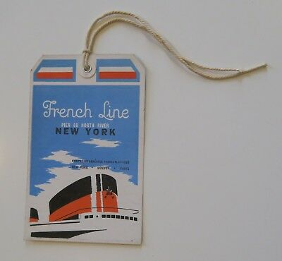 Etiquette de bagages NEW YORK CGT Hold Bagagge French line paquebot french label
