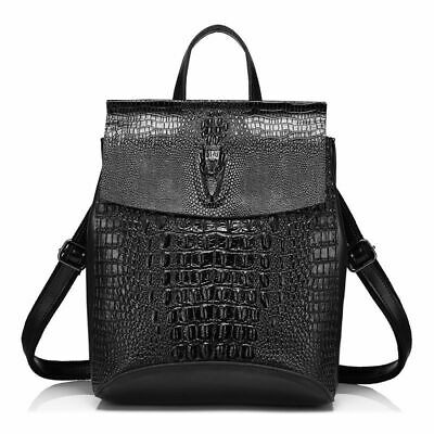 Women Crocodile Print Split Leather Backpack Solid Multiway Wearing Shoulder Bag