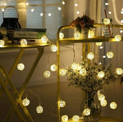 20 LED Battery Powered Garden Party Fairy String Sliver Ball Lights Outdoor