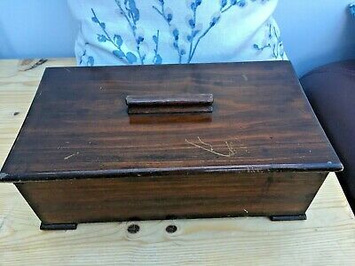 Vintage Wooden Cutlery Box with Lift Off Lid   - Two Compartments